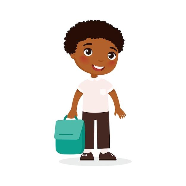 Allievo della scuola, illustrazione di vettore piatto studente felice. zaino della tenuta del bambino nel personaggio dei cartoni animati isolato braccio. scolaro elementare andando a lezione. ragazzo afroamericano allegro di nuovo a scuola Vettore gratuito