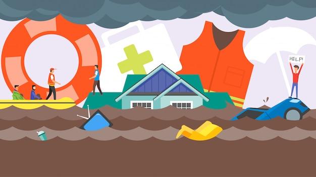 Alluvione concetto di salvataggio in caso di disastro. inondazioni di acqua in strada della città. squadra di salvataggio per aiutare le persone Vettore Premium
