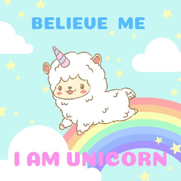 Alpaca carino in costume di unicorno in esecuzione sull'arcobaleno. Vettore Premium
