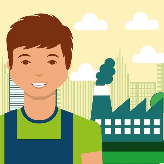 Alternativa di energia di città fabbrica industria giovane uomo Vettore Premium