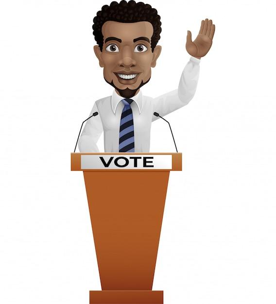 Altoparlante dell'uomo d'affari sul podio di presentazione Vettore Premium