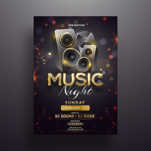 Altoparlanti audio realistici su sfondo nero bokeh per musica nig Vettore Premium