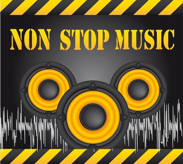 Altoparlanti su sfondo nero vettore musicale non stop Vettore Premium