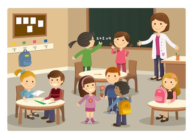Alunni e insegnante che iniziano la lezione a scuola Vettore Premium