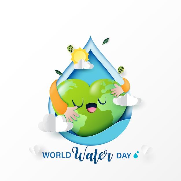 Ama la natura e risparmi l'acqua per l'ecologia e il concetto di conservazione dell'ambiente. Vettore Premium