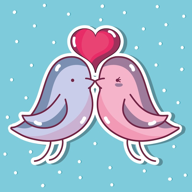 Amante Della Colomba Dell Uccello Con Il Disegno Del Cuore