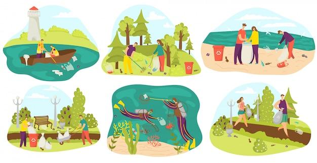 Ambiente e volontari che puliscono e raccolgono immondizia in sacchi, nel parco, in mare insieme di illustrazioni. ecologia, rifiuti e cura dell'ambiente, volontariato, riciclaggio e pulizia del pianeta verde. Vettore Premium