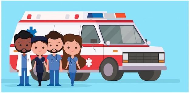 Ambulanza con personaggi medici Vettore Premium