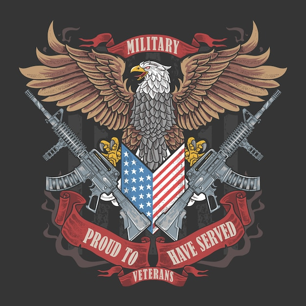 America eagle usa bandiera e armi arte per il giorno dei veterani, il giorno della memoria e il giorno dell'indipendenza Vettore Premium