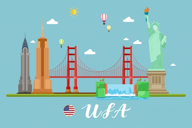 America travel landscape vector illuastration Vettore Premium