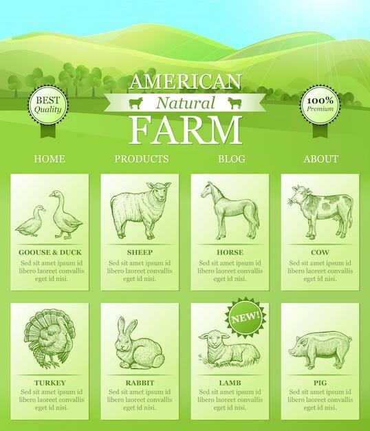 American farm di atterraggio per sito web Vettore gratuito