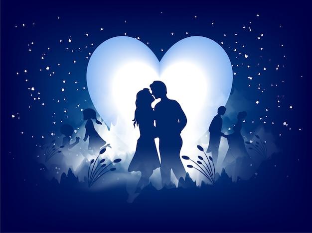 Ami il disegno della cartolina d'auguri, siluetta romantica delle coppie amorose Vettore Premium