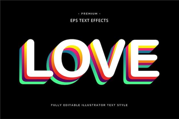 Ami il multi effetto del testo di colore 3d - stile del testo 3d Vettore Premium