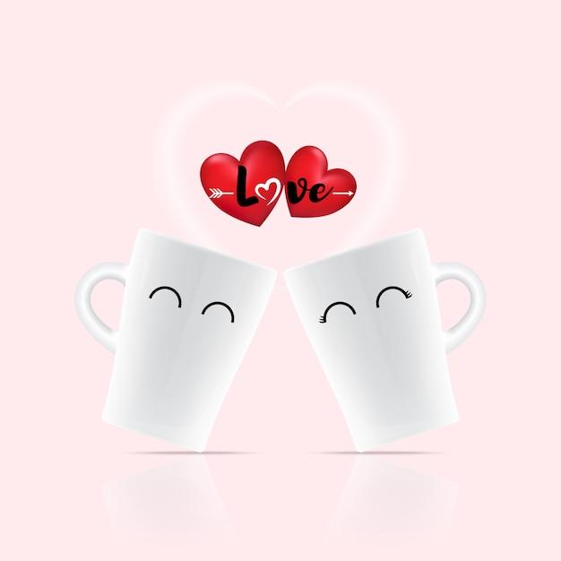 Ami la parola sul cuore sopra due tazze bianche Vettore Premium