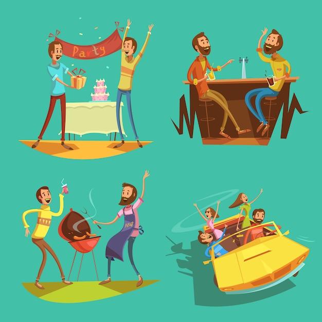 Amici cartoon set Vettore gratuito