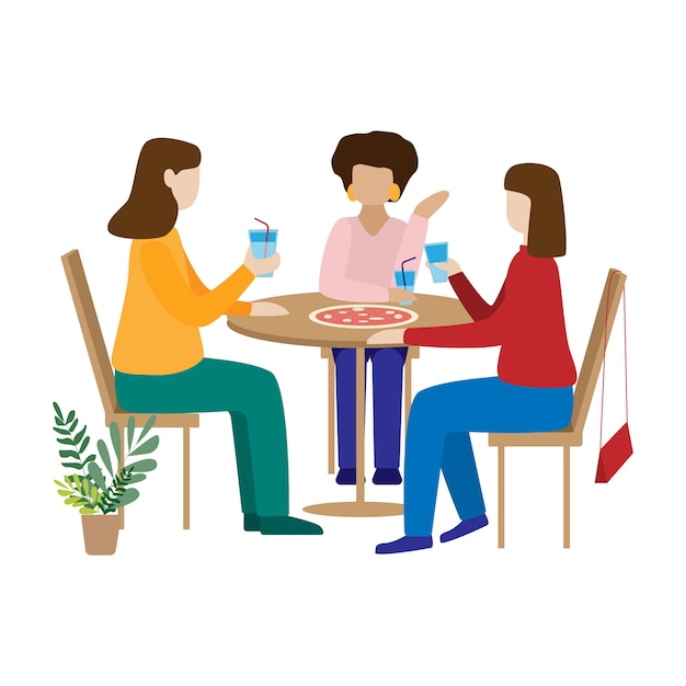 Amici che bevono caffè e chiacchierando. Vettore Premium