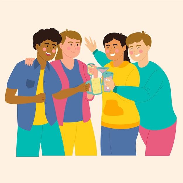 Amici che tostano insieme Vettore gratuito