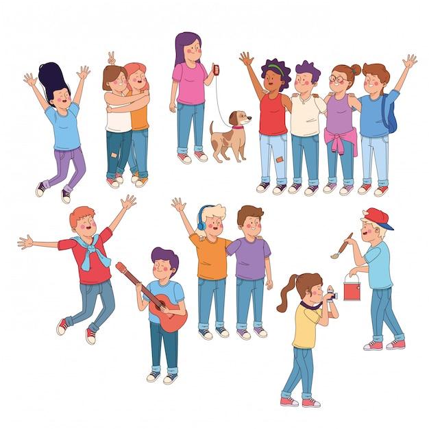 Amici di adolescenti divertendosi cartoni animati Vettore gratuito