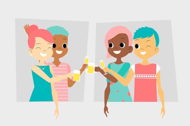 Amici di coppie felici che tostano insieme Vettore gratuito