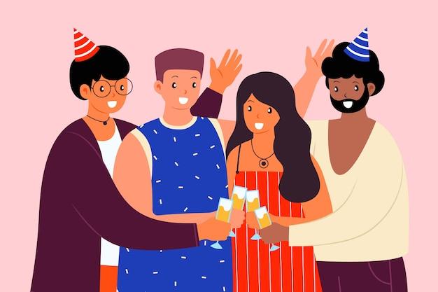 Amici felici che brindano insieme Vettore gratuito