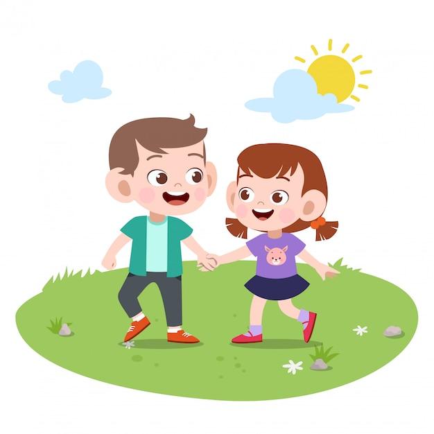 Amicizia bambini Vettore Premium
