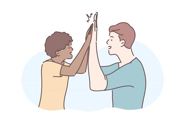 Amicizia, concetto di saluto informale Vettore Premium