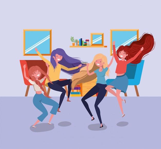 Amicizia di cartoni animati per ragazze Vettore gratuito