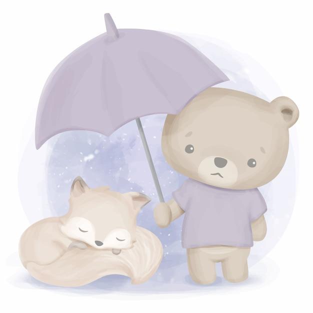 Amicizia di simpatici animali orso e volpe Vettore Premium
