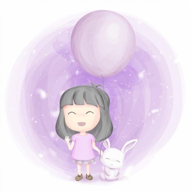 Amicizia ragazza e coniglio sorriso e felice Vettore Premium