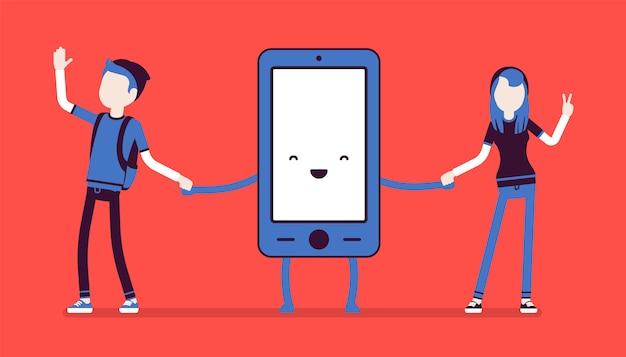 Amicizia smartphone con persone Vettore Premium