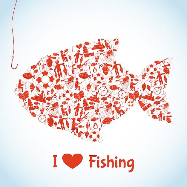 Amo il concetto di pesca Vettore gratuito