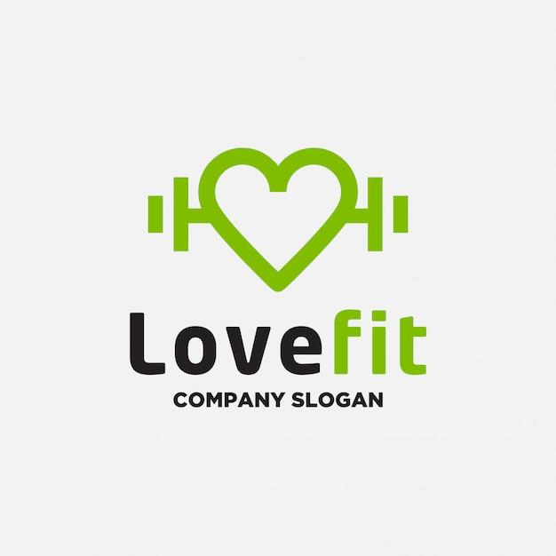 Amo il modello di progettazione logo fitness Vettore Premium