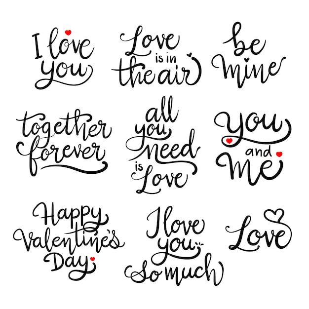 Amo la calligrafia romantica Vettore Premium