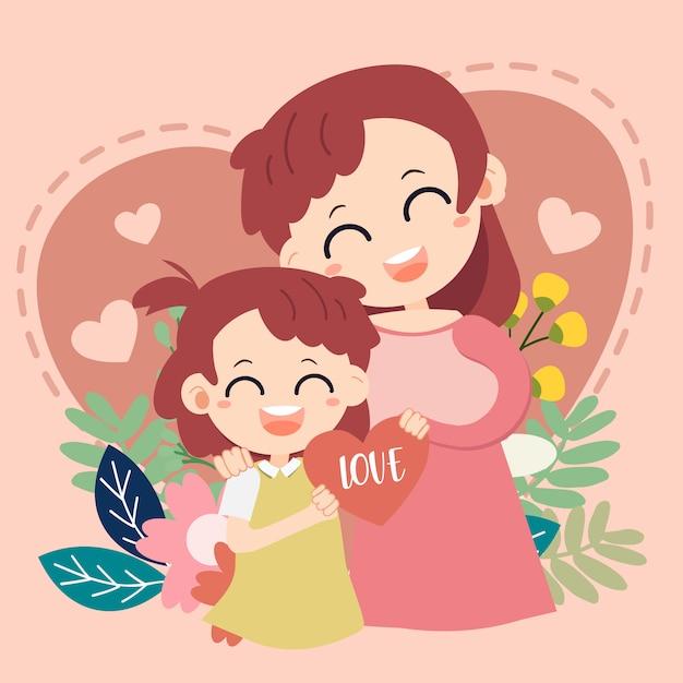 Amo la carta di mamma. buona festa della mamma . madre e bambino sul cuore Vettore Premium