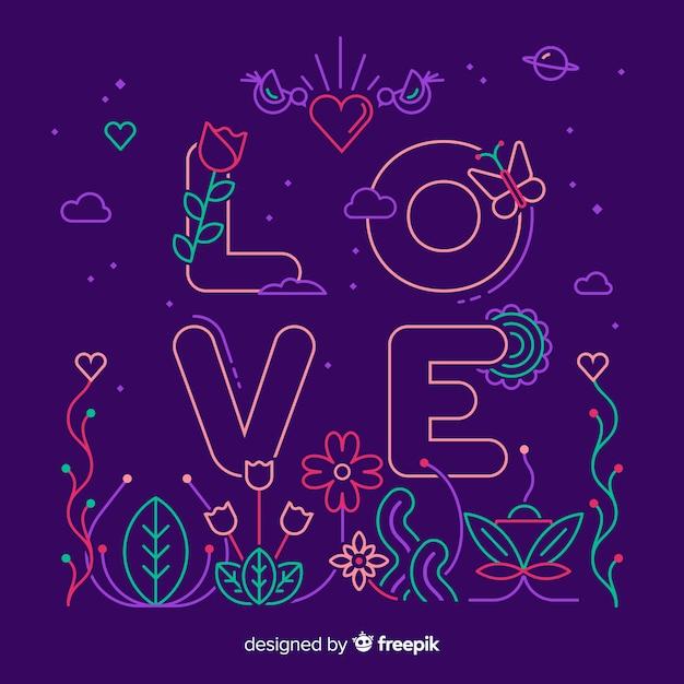 Amo la parola su sfondo viola su uno stile lineare Vettore gratuito