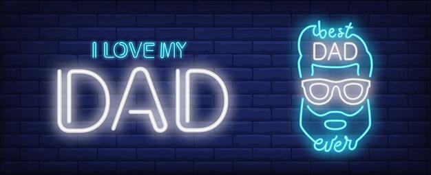 Amo mio padre, il miglior papà di sempre in stile neon. testo e mans testa Vettore gratuito