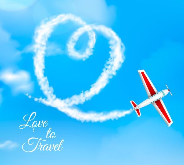Amo viaggiare a forma di cuore scia di condensazione dell'aeroplano su cielo blu Vettore gratuito