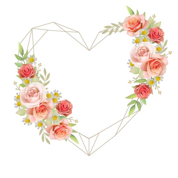 Amore bellissimo sfondo cornice con rose floreali Vettore Premium