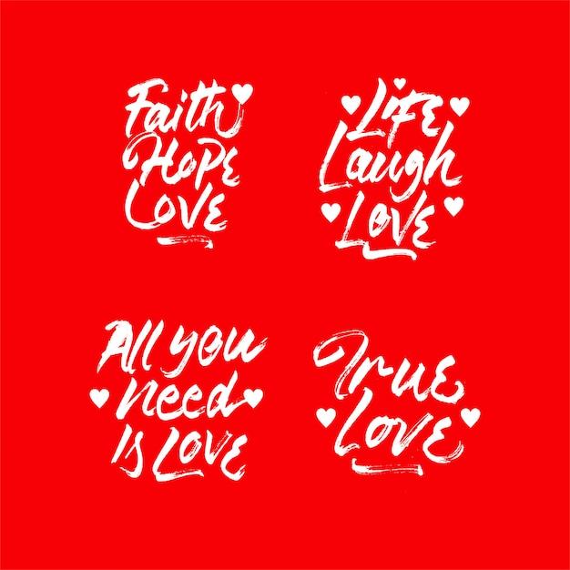 Amore citazione lettering insieme di raccolta Vettore Premium
