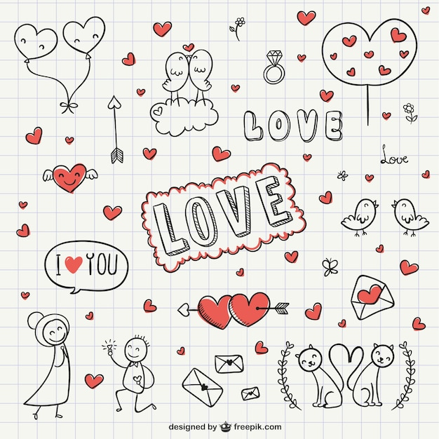 Amore collezione scribble Vettore gratuito