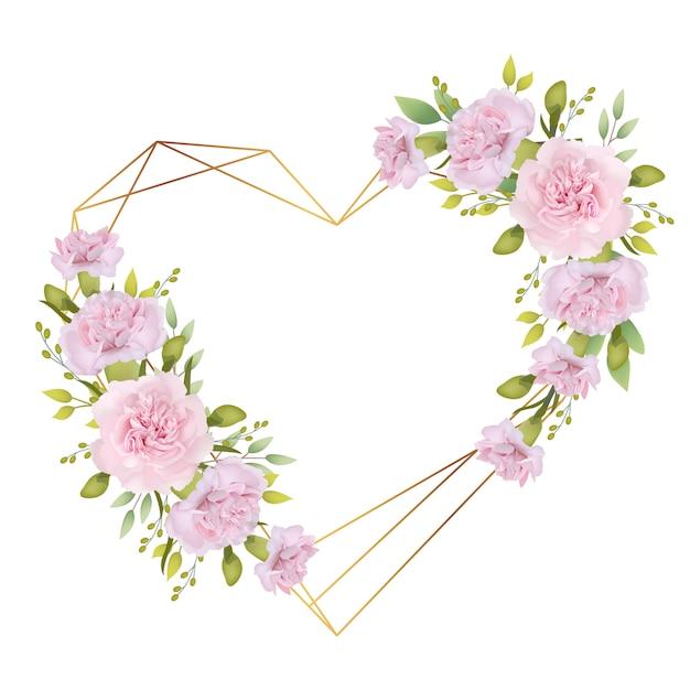 Amore cornice sfondo floreale con garofani rosa Vettore Premium