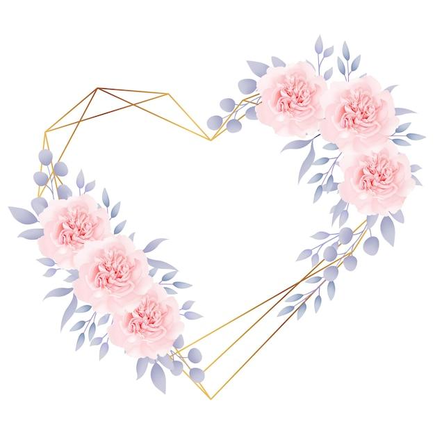 Amore cornice sfondo floreale con rose Vettore Premium