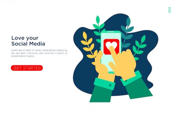 Amore dei social media con illustrazione piatta Vettore Premium
