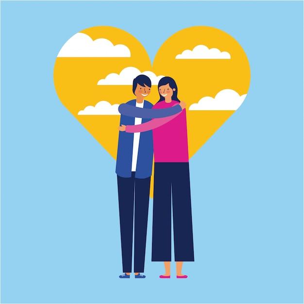 Amore di coppia all'aperto del cuore Vettore gratuito