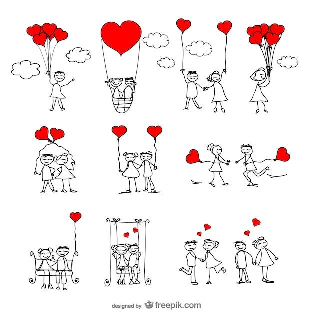 Amore illustratore vettoriale Vettore gratuito