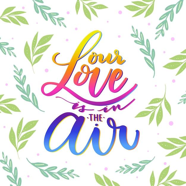 Amore lettering con foglie design Vettore gratuito