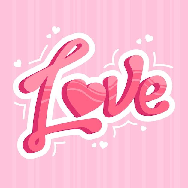 Amore lettering con ombre artistiche Vettore gratuito