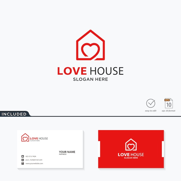 Amore logo design casa Vettore Premium