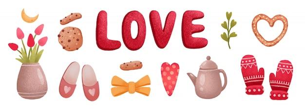 Amore set di icone di san valentino, tulipano, biscotto, pantofole, guanti, cuori Vettore Premium