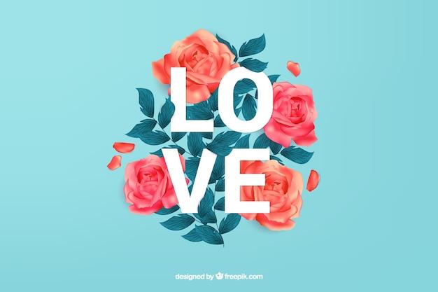 Amore sfondo con belle rose Vettore gratuito